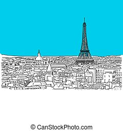 Paris Skyline, hand-drawn vector drawing, blue series