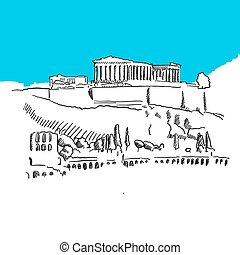 Acropolis Hill, Greece, hand-drawn vector drawing, blue...