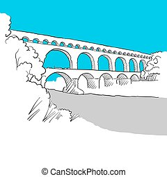 Aqueduct Avignion, France, hand-drawn vector drawing, blue...