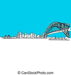 Sydney Harbour bridge Skyline, hand-drawn vector drawing,...