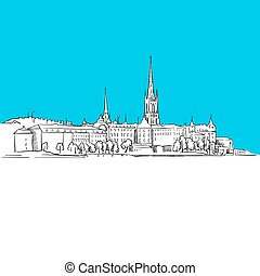 Stockholm Skyline, hand-drawn vector drawing, blue series