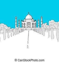 Taj Mahal, hand-drawn vector drawing, blue series