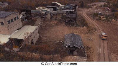Dilapidated plant for the production of concrete. - Flight...