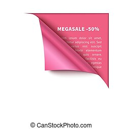 Corner white torn paper with pink background for your...