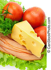 food plate - Delicious ham, cheese, tomato, parsley and...