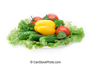 fresh vegetables - yellow paprika, cucumbers, tomato and...
