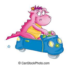 il piccolo drago,  gioca in macchina.