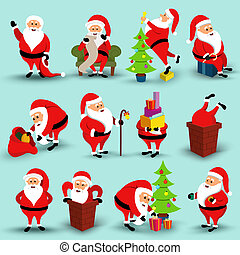 Collection of Christmas smiling Santa Claus character....