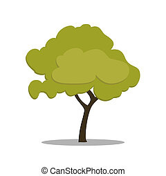 Stylized green tree in cartoon style. isolated on white...