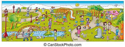 Adesivi con scenografia parco, giochi con lago bambini e...