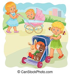 Vector illustration of two girls ride buggies