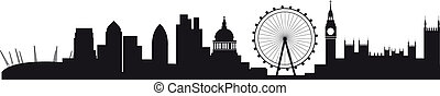 Detailed silhouette of london skyline - All buildings are on...