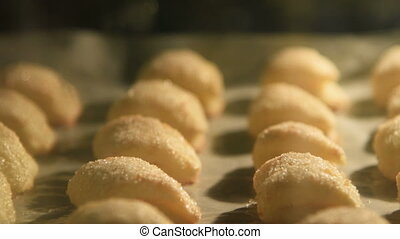 Pastry baked in the oven - Close-up shot of baking pastry in...