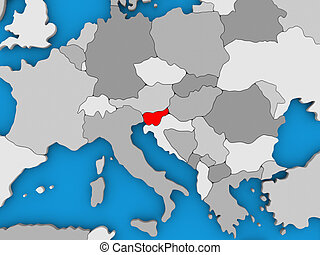 Slovenia in red on globe - Map of Slovenia on globe...