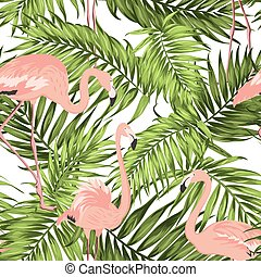 Green jungle palm leaves pink flamingos pattern - Bright...