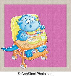 Il piccolo drago mangia, la pappa sù seggiolone
