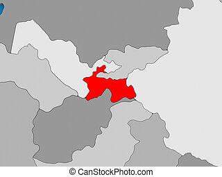 Tajikistan in red on globe - Map of Tajikistan on globe...