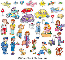 cStickers of children playing with dogs, cats, objects. -...