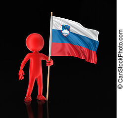 Man and Slovene flag. Image with clipping path