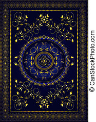 Frame from gold pattern on blue gradient background -...