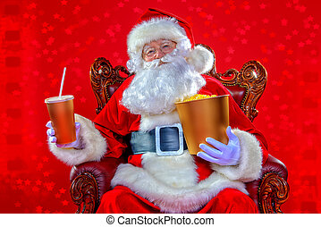 drinking soda - Merry Christmas and Happy New Year. Santa...