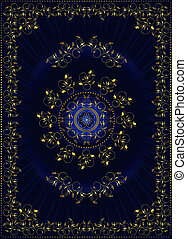 Frame with gold oriental floral pattern on blue gradient...