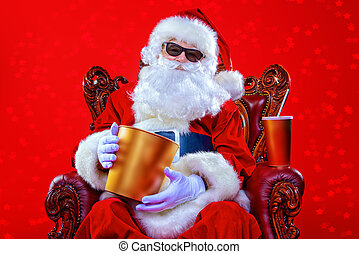 Santa with popcorn - Merry Christmas and Happy New Year....