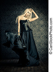 gorgeous vampire woman - Full length portrait of a beautiful...