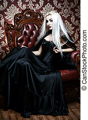 medieval lady - Beautiful gothic woman with long blonde hair...