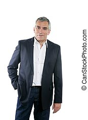 senior businessman portrait black suit over white - senior...
