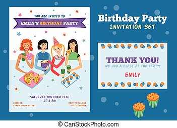Set of Vector Invitation Flyer and Thank You Card For Teenage Girls Birthday Party With Four Pretty Friends Celebrating. Perfect for a sleepover or pajama party event.