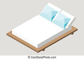 Isometric home furniture - bed. Interior element Bedroom....