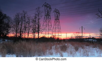 Night sky clouds sunset power lines winter