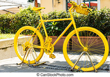 Yellow painted mountainbike