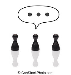 Black pawns dots in text balloon