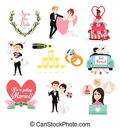 Wedding Celebrations Icons and Cliparts - A vector...