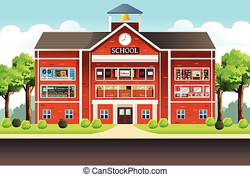 School Building - A vector illustration of school building