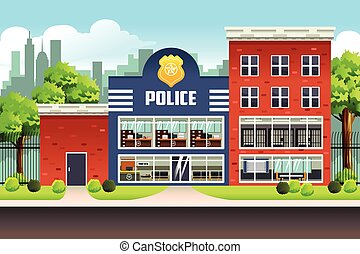 Police Station - A vector illustration of Police Station