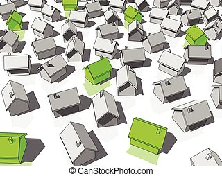 green ecological houses standing out from others - many...