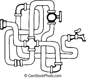 Jigsaw of water pipes .