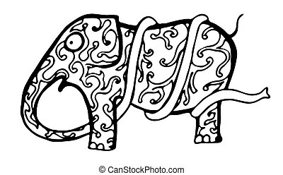 Sketch a funny elephant with a very long trunk . Sketch...