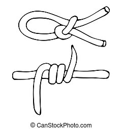 A sketch of the knot of rope and barbed wire . Sketch...