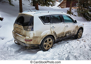 SUV in the mountains - SUV car in the mountains on a snowy...