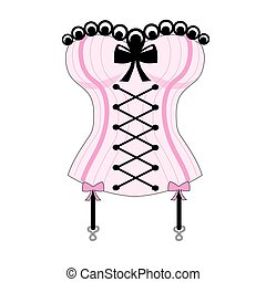 The Corset - A pink and black corset with pink bows and...