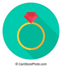 Ring with Diamond Circle Icon