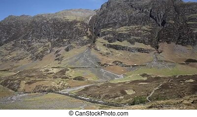 Glencoe Scotland UK elevated view of famous Scottish glen...