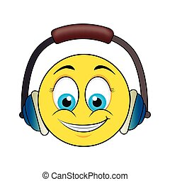 happy face with headset