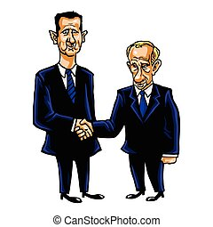 Bashar Al-Assad With Vladimir Putin Cartoon Vector...