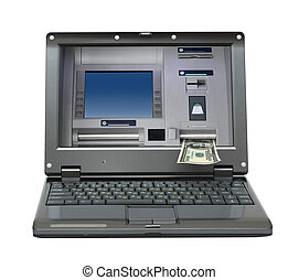 laptop with cash dispense on screen - small laptop with cash...