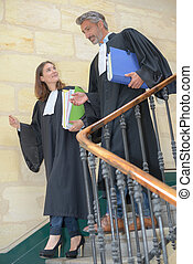 judges meeting on the stairwell